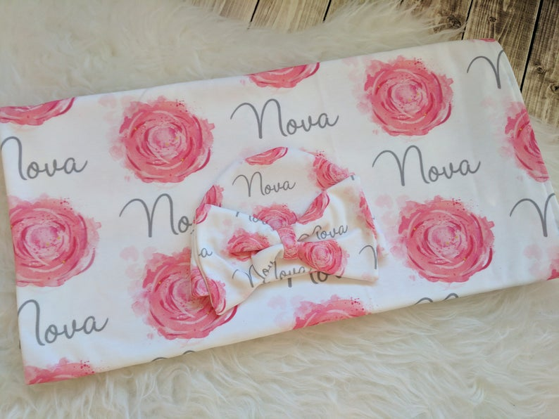 Personalized baby name rose newborn hat and swaddle blanket set baby and toddler personalized name newborn hospital gift baby shower gift