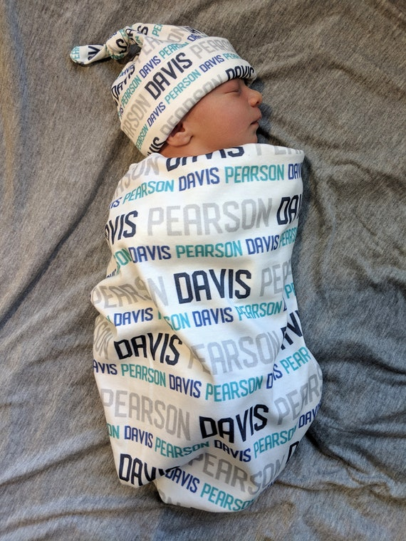 baby and toddler personalized name newborn hospital gift baby shower gift Personalized baby name knot hat and swaddle blanket set