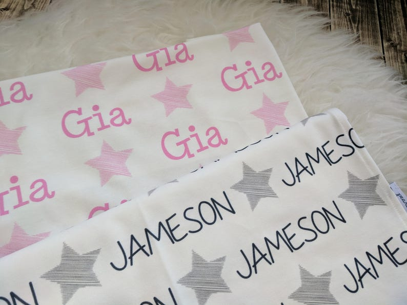 Personalized baby star blanket  baby personalized name swaddle  newborn baby girl baby boy  baby shower gift