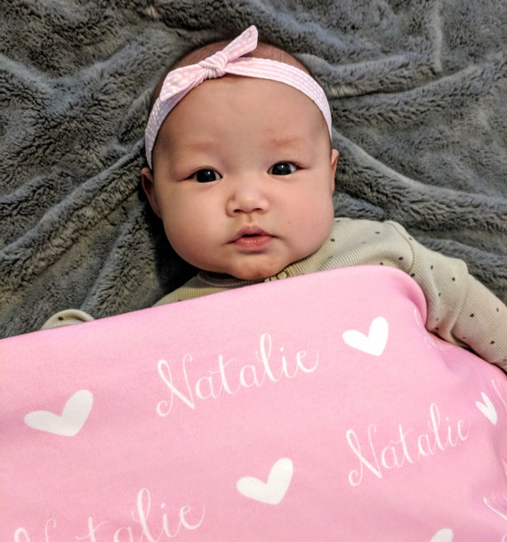 Personalised Baby Name Muslin Blanket Embroidered Hearts Stars Pink Blue White
