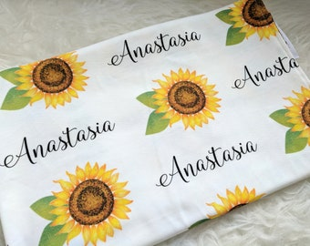 Personalized sunflower swaddle blanket: baby and toddler personalized name newborn hospital gift baby shower gift