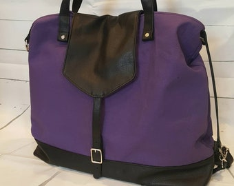 Leather diaper bag, backpack diaper bag, purple, leather tote bag, italian leather hide, black leather, convertible MADE TO ORDER