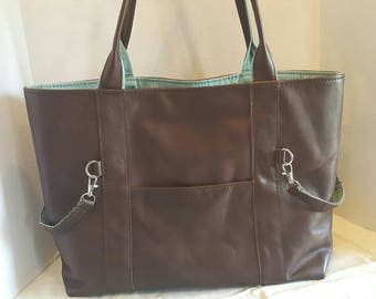 Leather diaper bag, large or medium, leather tote bag, italian leather hide, brown leather, sea green lining with 7 pockets MADE TO ORDER