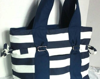Large Diaper bag, purse, handbag navy and white stripe with navy straps and lining. Key pocket, option of removable strap and zipper