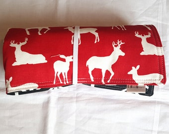 Arrow changing mat, travel changing pad, red deer print with black arrows, boy chaing pad, baby gift ,rolls up neatly with elastic