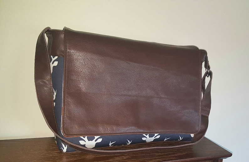 leather messenger bag laptop bag Deer diaper bag buffalo diaper bag genuine leather XL diaper bag READY to SHIP orange arrow