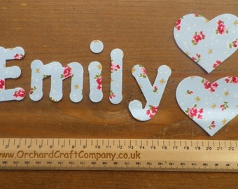 Iron On Fabric Letters/Numbers 4 - 5cm Floral Print Upper or Lowercase set of 7