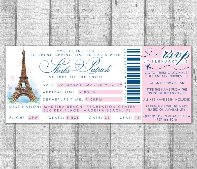 Paris Boarding Pass Invitation Deposit Etsy