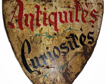 Antique Parisian Hand Painted Metal Shop Sign
