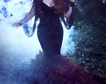 Gothic Wedding Fantasy Couture Bridal Gown Haute goth Dark Goddess Fairygoth Masquerade Gown Ball Gown Evil Queen Burlesque Diva Stage wear