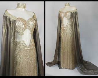 Fantasy couture Goddess dress Sexy sparkle luxury dress Fairytale costume Wedding gown Cut out dresscosplay Queen gown