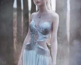 Fantasy costume Lady Dragon Armour Cosplay fairytale wedding Scales bra Festival wear Stage wear Burning man Fairygoth