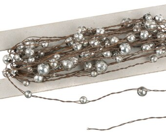 Rustic Wire with Antique Silver Pearl Garland - 24 feet