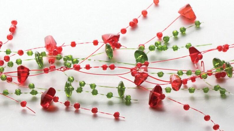 Beaded Acrylic Garland Spray Holiday Red  Green
