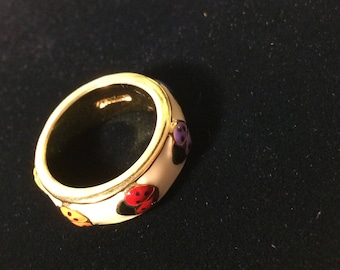 Joan Rivers Multi-Color Lady Bug Band Ring