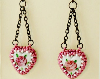 Japanese Vintage Porcelain Heart Beaded Dangle Earrings, Limited Edition Bead Art Leather Jewelry