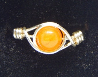 Orange Calcite Ring Copper Wire Wrapped Ring