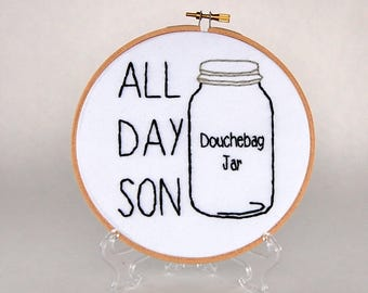 New Girl Hoop Art- Schmidt - All Day Son - Douchebag Jar - Jessica Day - 6 inch