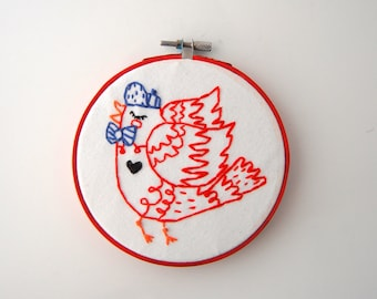 Hipster Bird Hoop Art - Hand Embroidered Robin Wall Hanging - Robin with Baseball cap and bow tie
