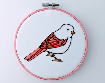Sparrow Hoop Art - Hand Embroidered Bird Wall Hanging - Pink Chickadee
