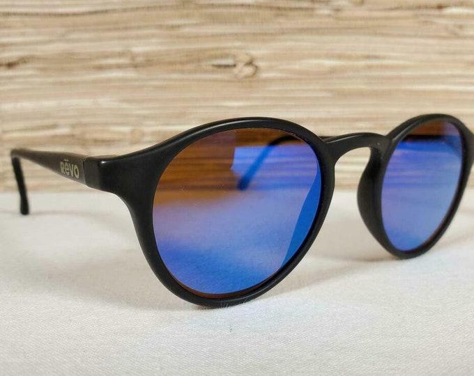 Vintage 1980's Revo Sierra Sunglasses Polarized Matte Black Blue Mirrored Lens 1003 001