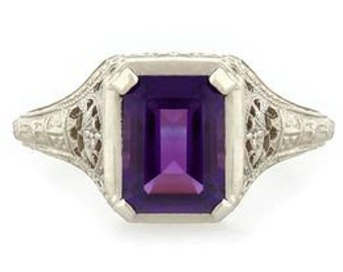 Vintage Antique Art Deco Filigree 14k White Gold 2.5 CT Amethyst Ring