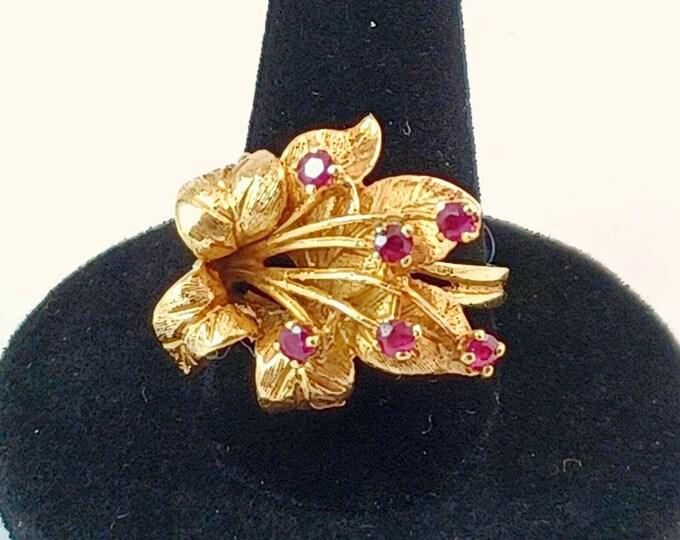 Vintage Custom Made 14k Yellow Gold Ruby Hibiscus Flower Estate Ring