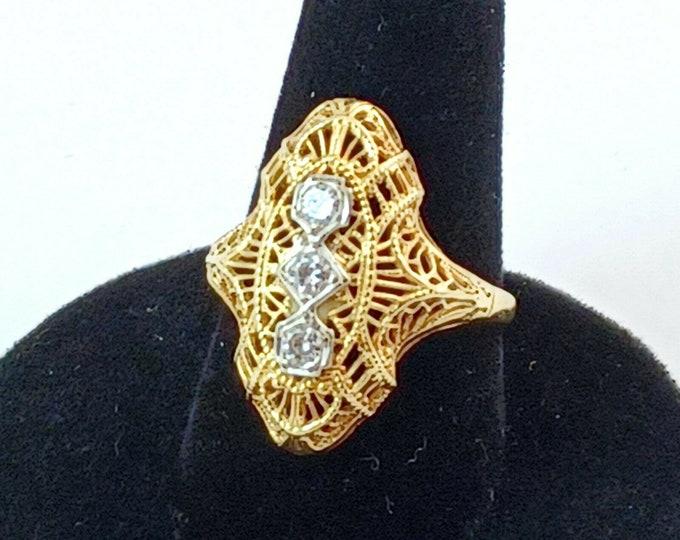 Estate Antique Art Deco Filigree 14k Gold 3 Stone .50 CT Diamond Ring