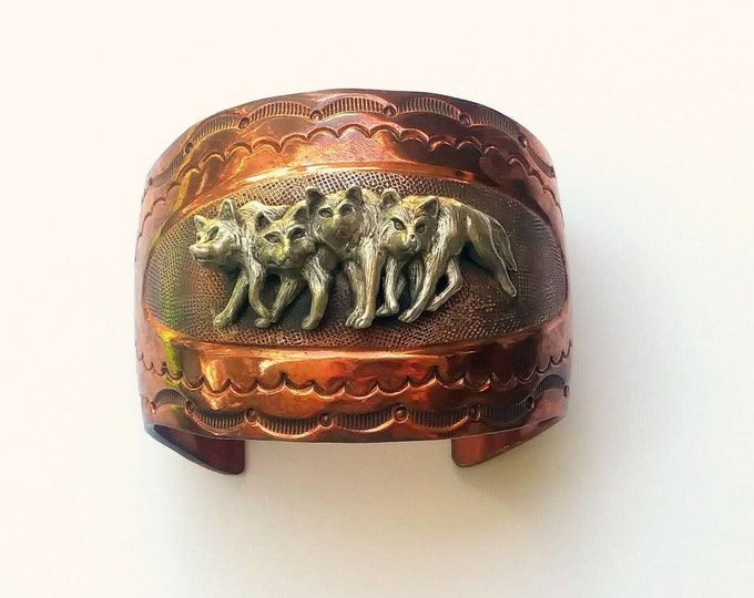 Rare Hard To Find! - Chaco Canyon, Copper & Sterling Silver Wolf Pack, Wide Cuff Bracelet