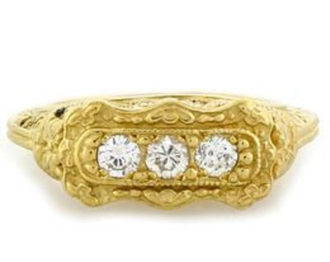Vintage 18kt Y/G Art Deco Filigree .33 CT 3 Stone Diamond Ring