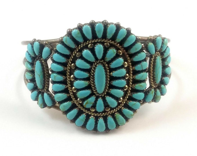 Vintage Native American Signed RD Navajo Petit Point Turquoise & Sterling Cuff Bracelet