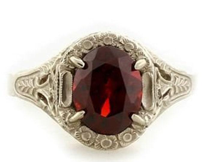 Vintage Antique Edwardian Art Deco 2.1 CT Garnet Filigree Ring In 14k White Gold