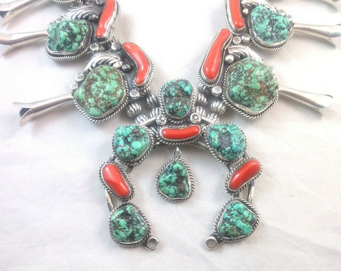Native American Signed Squash Blossom Turquoise Coral & Sterling Silver Necklace