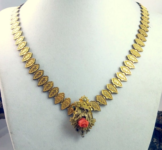 Antique Victorian Gold Filled & Coral Rose Book Ch