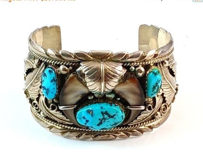 50% OFF Native American Navajo Turquoise & Bear Claw Sterling Cuff Bracelet Signed TT