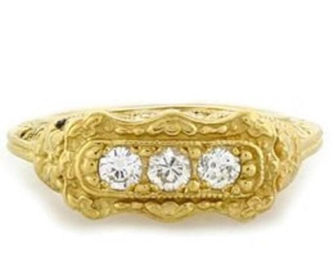 50% OFF Vintage 18kt Y/G Art Deco Filigree .33 Ct 3 Stone Diamond Ring