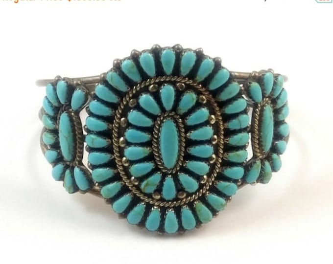 50% OFF Vintage Native American Signed RD Navajo Petit Point Turquoise & Sterling Cuff Bracelet