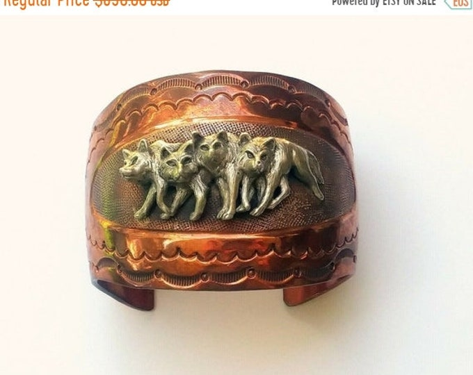 50% OFF Rare Hard To Find! - Chaco Canyon, Copper & Sterling Silver Wolf Pack, Wide Cuff Bracelet