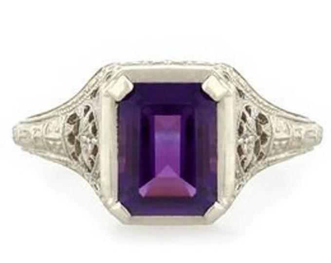 50% OFF Vintage Antique Art Deco Filigree 14k White Gold 2.5 CT Amethyst Ring