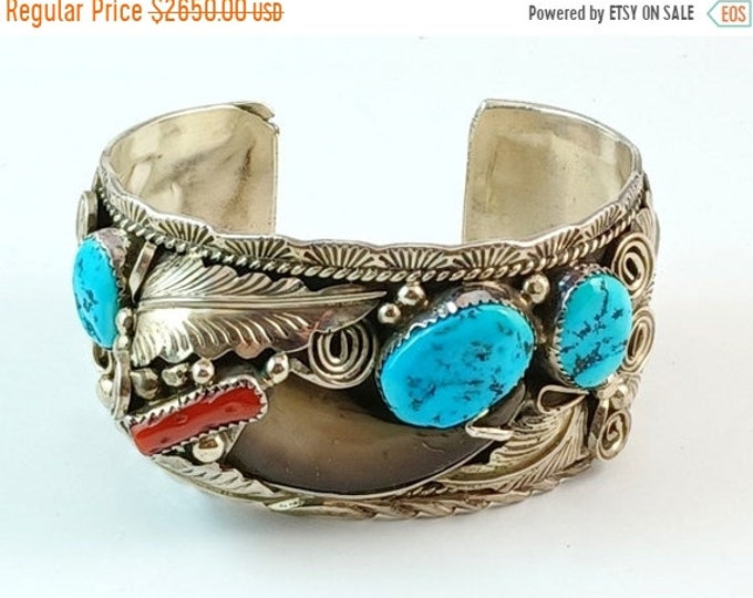 50% OFF Native American Navajo Bear Claw Coral Turquoise & Sterling Silver Cuff Bracelet