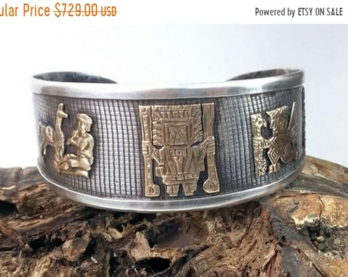 50% OFF Vintage Sterling Silver 18K Gold Inca Dezak Peruvian Gods Tribal Bracelet