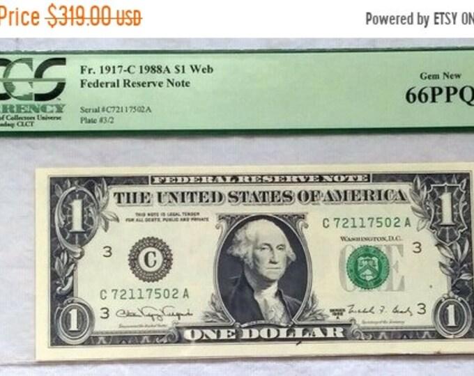 """50% OFF 1988 A 1 Dollar Atlanta """" Web """" Frn, PCGS Gem New 66 Ppq, F/L Block, Plate # 3/2"""
