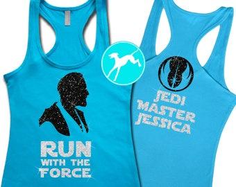 a7d75a1f26f219 Star Wars Obi Wan race marathon force Run Disney marathon customized name  Shirt Top Tank razor run Dri Fit Youth Toddler Baby Girls Boys