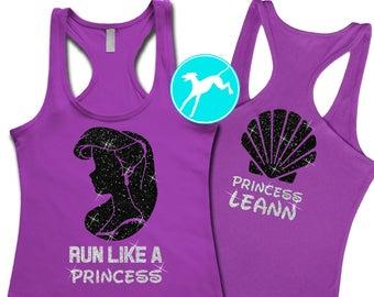 71c6e64ef5 Disney Ariel Run like a Princess Personalized Tank Shirt princess vacation  Top back fitness kids dri fit toddler baby girls youth