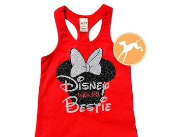 f10ac26b4 Disney bestie shirt Minnie Tank GLITTER best friend Top vacation disneyland  run running kids Dri Fit Youth Toddler Baby Girls