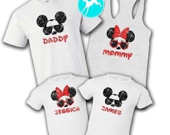 f6792dd205f Disney Family shirt GLITTER set Mickey minnie White vacation T-Shirt Tank  Top race running kids Dri Fit Youth Toddler Baby Girls