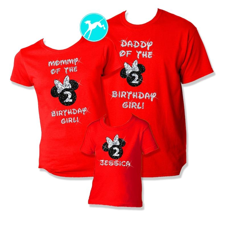 Disney Birthday Family Shirt Set GLITTER Mickey Minnie White Vacation T Tank Top Race Running Kids Dri Fit Youth