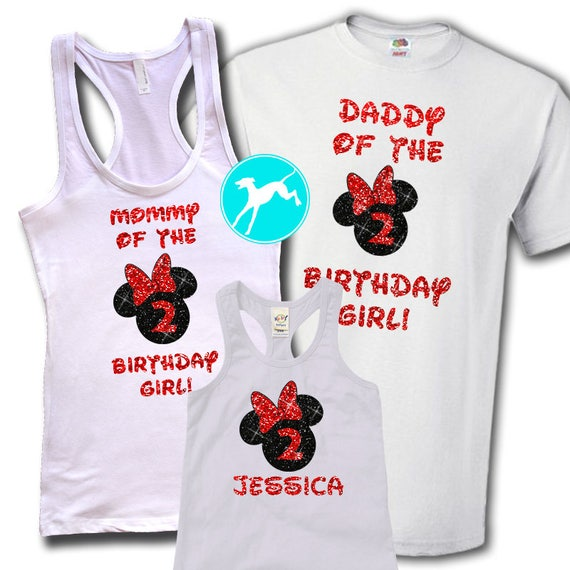 Disney Birthday Family Shirt Set GLITTER Mickey Minnie White