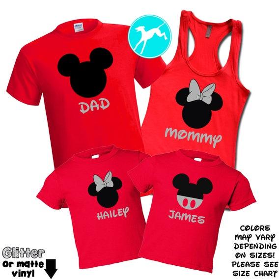 4572ff9dc Disney Family shirt VINYL set Mickey minnie red vacation | Etsy