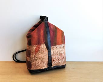 Spiralworks Backpack with Handmade Nuno-Felt Stitching & Leather